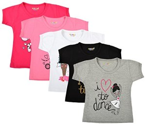 Kuchipoo Girl's Cotton Regular Fit T-Shirt – Pack of 5