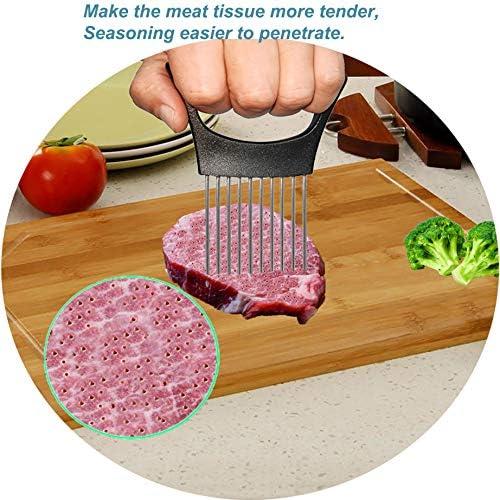 Onion Slicer, Onion Cutter Holder, Lemon Potato Tomato Slicer, Vegetable Stalking Fork, Meat Tenderer, Stainless Steel Kitchen Slicer