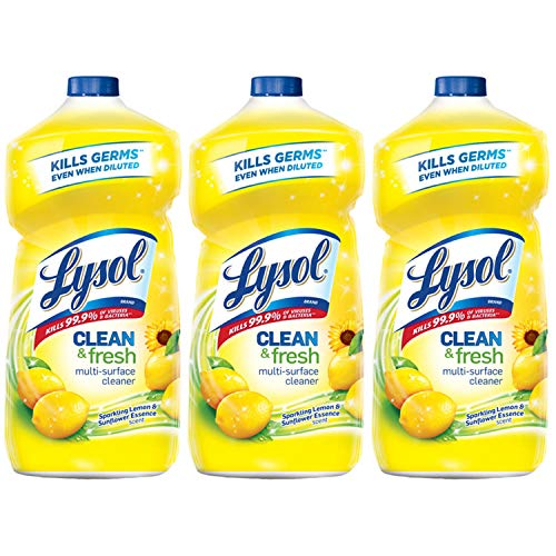 Lysol Clean & Fresh Multi-Surface Cleaner, Lemon & Sunflower, 40 Ounce (Pack of 3)