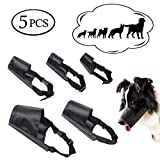 ewinever 5Pcs/Set Adjustable Breathable Safety Small Medium Large Extra Dog Muzzles for Anti-Biting Anti-Barking Anti-Chewing Safety Protection(Black)