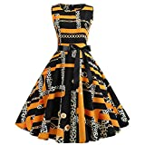 TOTOD Dress for Women, Fashion Women's Vintage Print Minidress Sleeveless Elegant Party Costume