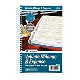 Adams Vehicle Mileage and Expense Journal, 5-1/4' x 8-1/2', Fits the Glove Box, Spiral Bound, 588 Mileage Entries, 6 Receipt Pockets, (AFR12)