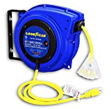 GOODYEAR Extension Cord Reel Heavy Duty Polypropylene Long 16AWG x 50 FT 3C SJTOW Commercial Premium Grade Ultra Flexible Cable (S3) LED Triple Tap Connector Great for Indoor & Outdoor Use