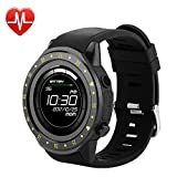 QWMoonRu Bluetooth Mens Smartwatch with Heart Rate Blood Pressure Sleep Monitor Pedometer, Touchscreen Round Face Smart Watch Sports Watches Compatible with Android iOS