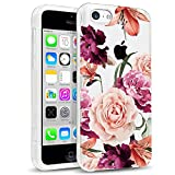 luolnh Compatible with iPhone 5C Case Slim Shockproof Clear Floral Pattern Soft Flexible TPU Back Cover Case -Purple Rose