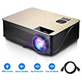 GBlife Mini Portable Video Projector - 4000 Lumens 1080P HD LCD Home Business Projector, Compatible with TV Stick, PS4, HDMI, VGA and USB for Movies, Sports and Video Games, PPT(Black Gold)