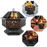 F2C Outdoor Heavy Steel 24' Fire Pit Wood Burning Fireplace Patio Backyard Heater Steel Hex Shaped Firepit...