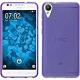 PhoneNatic Silicone Case Compatible with HTC Desire 10 Lifestyle - Transparent Purple Cover + Protective foils