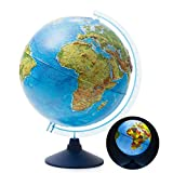 Exerz 12' / 13' /32cm Illuminated Relief Globe with Cable Free LED Lighting/ 2 in 1/ Day and Night - Physical/Political Dual Map - Topography / Geography / Ridge