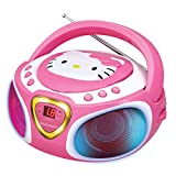 Hello Kitty Portable Stereo CD Boombox with AM/FM Radio, Speaker and LED Light Show plus iPad/MP3 Aux-in Jack