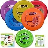 Innova Disc Golf Starter Set   5 Beginner Discs - DX Putter, Mid-Range, Drivers - 1025 Putting Game - Flight Reference Card - Driven Mini Marker   Disc Colors Vary