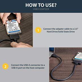 StarTechcom-USB-31-to-25-SATA-Hard-Drive-Adapter-USB-31-Gen-2-10Gbps-with-UASP-External-HDDSSD-Storage-Converter-USB312SAT3CB-Black