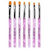 Makartt 7PCS UV Gel Acrylic Nail Brush Nail Art Tips Builder Brush Nail Painting Brush Pen Set