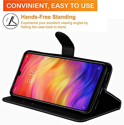 Qlez Full Leather Flip Cover with Unbreakable Glass for Xiaomi Redmi Note 5/ Mi Note 5 |Inner TPU | Foldable Stand | Wallet Card Slots - Smooth Black 7