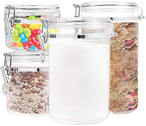 Food Storage containers canister set - Set of 4 Air Tight Canisters with lids for dry flour Cereal coffee rice acrylic plastic clear glass airtight cannister for kitchen