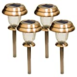 Solar Lights Outdoor Pathway Garden Decorative Stake Light Decorations Copper Bright White Blue Dual Color LED Stakes Landscape Lighting Sogrand Waterproof Yard Lamp For Outside Walkway Driveway 4Pack