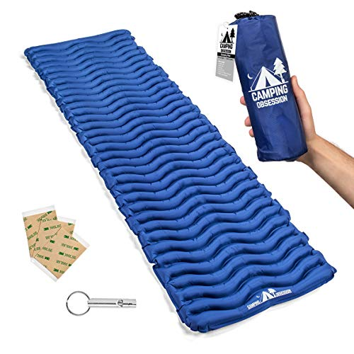Camping Mat Inflatable Sleeping Pad - Compact & Lightweight for Backpacking - Ultralight Air Mattress Engineered for Comfort – with 3 Repair Patches and Bonus Survival Whistle (Admiral Blue)