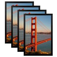 FRAMICS 4 Pack 12x18 Picture Frames, Display 12x18 Photo Without Picture Mat, Black Picture Frames Made of Solid Wood for Wall Mounting, Mounting Hardware Included