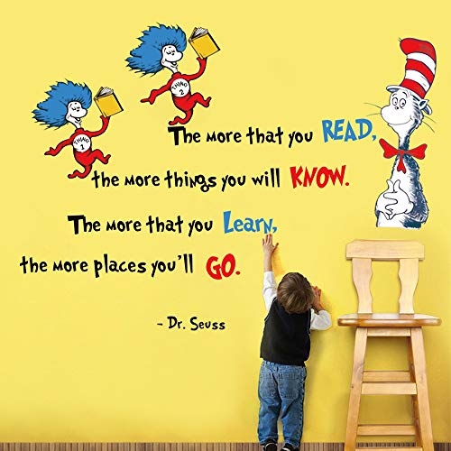 decalmile Dr Seuss Wall Decals Quotes The More That You Read The More You Know Kids Wall Stickers Baby Nursery Childrens Bedroom Classroom Playroom Wall Decor