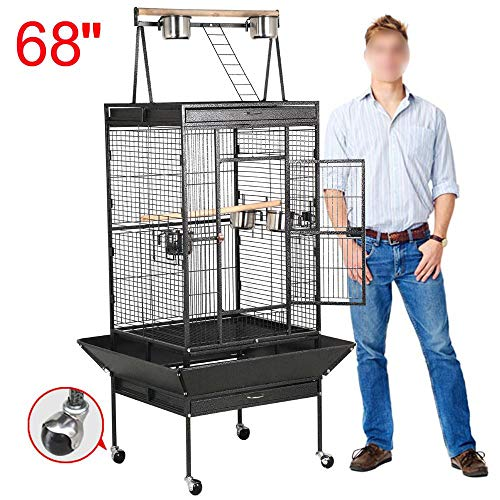 Yaheetech 68'' Wrought Iron Select Rolling Large Bird Cages for African Grey Parrots Cockatiels Green Cheek Conure Play Top Bird Cage with Stand
