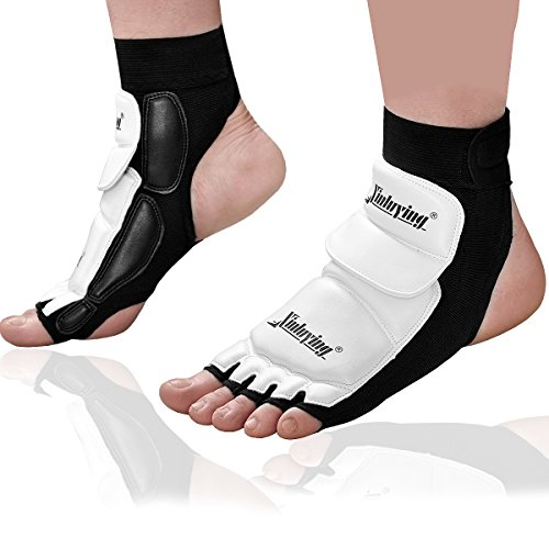 Xinluying Women Men Taekwondo Foot Protector Gear Martial Arts Fight Boxing Punch Bag Sparring MMA UFC Thi Leather S