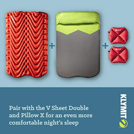 Klymit-Double-Person-KLYMIT-V-Sleeping-Pad-2-Wide-47-inches-Lightweight-Comfort-Car-Camping-Two-Tents-Air-mattress