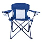 LCH Outdoor Camping Chair Oversized Support 300lbs Folding Padded Chair Mesh Back Heavy Duty Comfort with Two Cup Holders and Armrest Portable with Carry Bag (Blue)