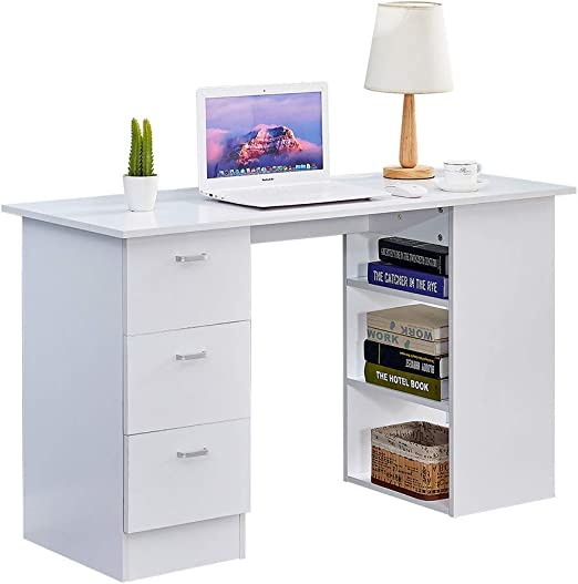 Boju Wood White Computer Desk Table With 3 Drawers And 3 Storage Shelves 4 Ft 120cm For Home Office Simple Study Writing Table Workstation For Bedroom Corner White Amazon Co Uk Kitchen Home