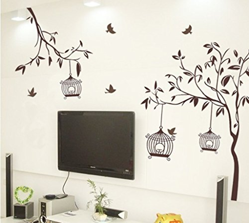 51x82ptZ2RL - Decals Design StickersKart Wall Stickers Tree with Birds and Cages (Brown)