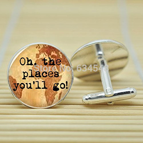 Pretty Lee Travel 'Oh The Places You'Ll Go' Dr Seuss Quote Wanderlust In Silver Cufflinks Glass Cabochon Cufflinks C3778
