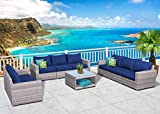 SunHaven 9 Piece Outdoor Furniture Set - for Patio, Deck, Garden and Outdoor Dining - Features Thick Cushions, Gray Wicker Rattan and Weather Resistance (9 Piece Sofa Set Kensington)