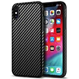 Tasikar Compatible with iPhone Xs Max Case Good Grip Slim Carbon Fiber Leather Case for iPhone Xs Max (2018) - Black