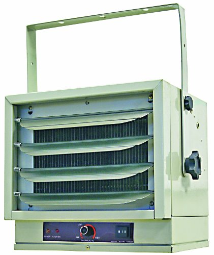 Comfort Zone Industrial Steel Electric Ceiling Mount Heater, 3 Heat Levels up to 5,000 watts, White
