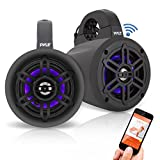 Pyle Waterproof Rated Bluetooth Marine Tower Wakeboard Subwoofer Speaker System with Wireless Music Streaming & LED Lights (4', 300 W)(PLMRLEWB47BB)