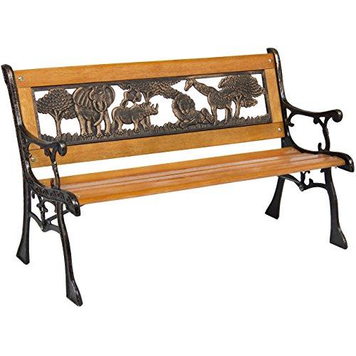Best-Choice-Products-Outdoor-Safari-Animals-Kids-Aluminum-Wood-Park-Bench-Home-Garden