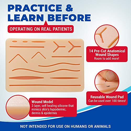 Suture Observe Equipment for Suturing Coaching: Superior 30 Piece Suture Equipment with Giant Pre-Minimize Silicone Wound Suture Pad, Suturing Instruments, four Varieties Threads & Storage Case – Medical Coaching Surgical Sutures deal 50% off 51xCfWKFDaL