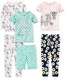 Simple Joys by Carter's Girls' Little Kid 6-Piece Snug Fit Cotton Pajama Set, Donuts/Zebra/Dots, 5