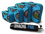 Shacke Pak - 4 Set Packing Cubes - Travel Organizers with Laundry Bag (Aqua Teal)