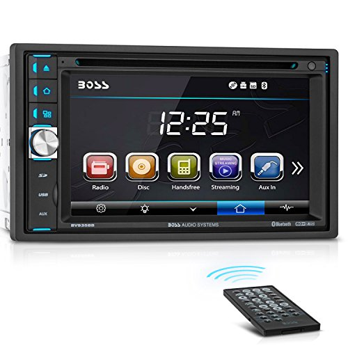 BOSS Audio BV9358B Car DVD Player – Double Din, Bluetooth Audio and Calling, 6.2 Inch LCD Touchscreen Monitor, MP3 Player, CD, DVD, WMA, USB, SD, Auxiliary Input, AM/FM Radio Receiver