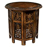 Product review for Cotton Craft Jaipur Solid Wood Hand Carved Accent Coffee Table - 18 Inch Round Top x 18 Inch High - Antique Brown