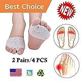 Metatarsal Pads, Toe Separator, Gel Metatarsal Cushion Toe Separators, (4 PCS) *New Material* Forefoot Pads, Toe Spacers,Breathable & Soft Gel, Best for Diabetic Feet, Blisters, Forefoot Pain.