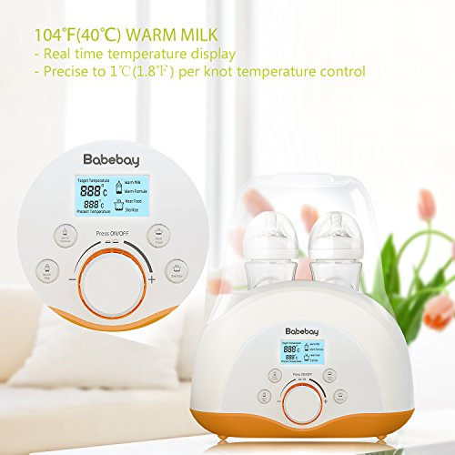 [2018 UPGRADED]Baby Bottle Warmer, Bottle Sterilizer & Smart Thermostat 4-in-1 with Fast Transit Heat, Real Time Temperature LCD Monitor and Precise Temperature Control, fit most brands baby bottles