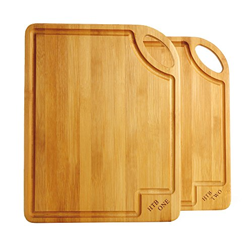 2 PCS Bamboo Cutting Board Set, Gift Box Chopping Board For Food Prep, Meat, Vegetables, Bread, Crackers & Cheese By HTB