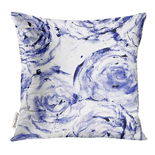 UPOOS Throw Pillow Cover Watercolor Roses Black and White Floral for Dress Linen Flowers Digitally Finished in Photoshop Decorative Pillow Case Home Decor Square 16x16 Inches Pillowcase