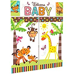 """Adorable Fisher Price Baby Shower Party Jungle Animals Scene Setter Wall Decorating Kit, Vinyl, 32"""" x 59"""", Pack of 5"""