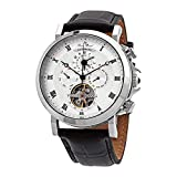 Lucien Piccard Men's 'Acropolis' Stainless Steel and Leather Automatic Watch, Color:Black (Model: LP-40021A-02S)