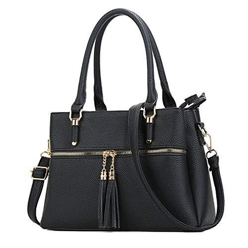 Women Satchel Bags Handle Shoulder Handbags and Purses Pockets Zipper Leather Crossbody Bags …