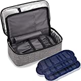 ALLCAMP Insulin Cooler Travel Case for Diabetic Organize Medication with 4 Ice Pack - Epipen Case Portable and Reusable Grey (Medium)