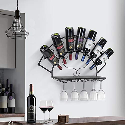 Decorative Wall-Mounted Tilted Wine Rack with Glass Holders