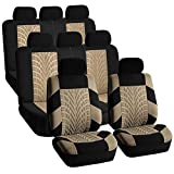 FH GROUP FH-FB071128 Complete Three Row Set Travel Master Seat Covers Beige / Black , (Airbag Ready & Rear Split) - Fit Most Car, Truck, Suv, or Van